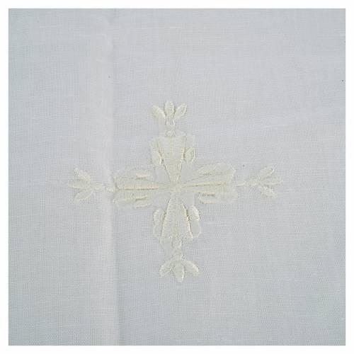 Corporal croix brodée lin et coton (2 pcs) s2