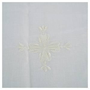 Servizi da messa e conopei: Corporale lino e cotone croce ricamata 2 pz
