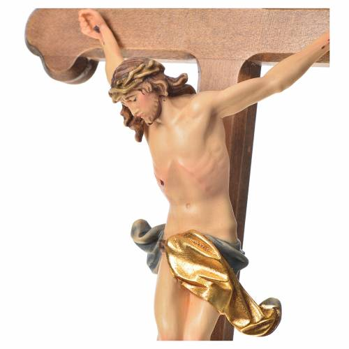 Corpus trefoil cross in painted Valgardena wood s2