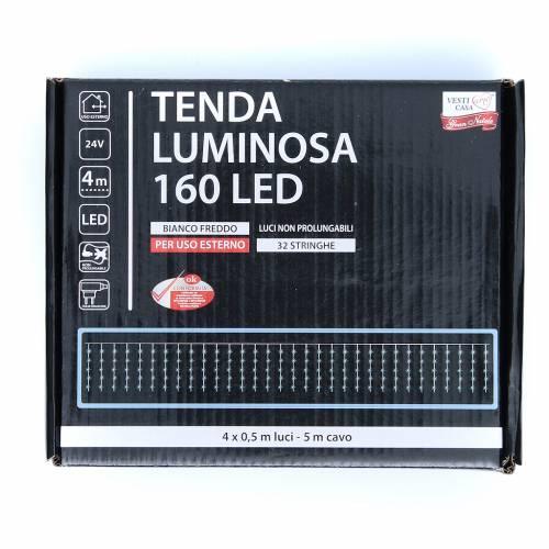 Cortina luminosa 160 LED blanco frío para exterior, funcionamiento con corriente s3