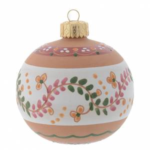 Christmas tree ornaments in wood and pvc: Country style Christmas bauble in terracotta from Deruta 80 mm