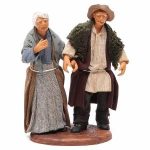 Crèche Napolitaine: Couple de petits vieux main dans la main 12 cm crèche napolitaine