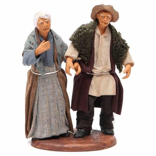 Couple de petits vieux main dans la main 12 cm crèche napolitaine s1