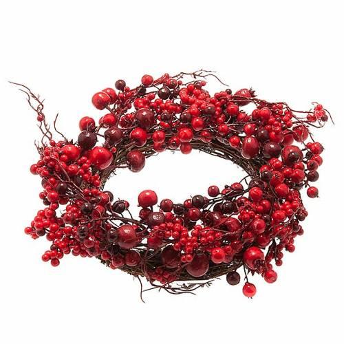 couronne de noel, rameaux  et baies rouges, décorations n 1
