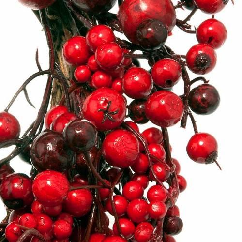 couronne de noel, rameaux  et baies rouges, décorations n 3