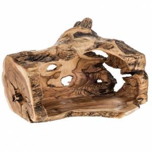 Crèche complète et étable bois d'olivier Terre Sainte 14cm s10