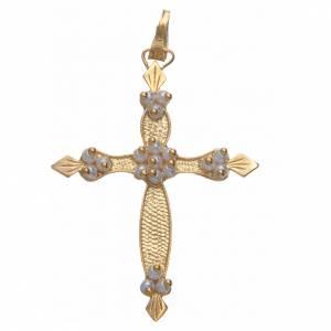 Pendenti, croci, spille, catenelle: Croce Argento 800 dorata e inserti bianchi 4x3 cm