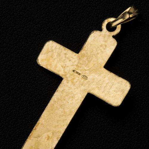 Croce Argento 800 quadrettata dorata s3