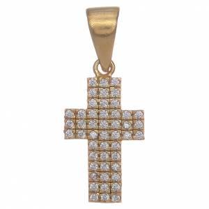 Pendenti, croci, spille, catenelle: Croce argento 925 dorato con zirconi
