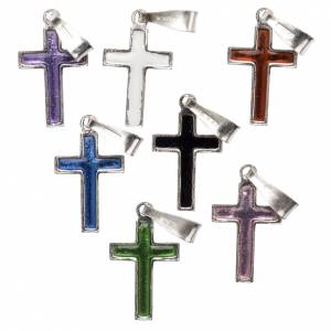 Pendenti, croci, spille, catenelle: Croce argento e smalto vari colori