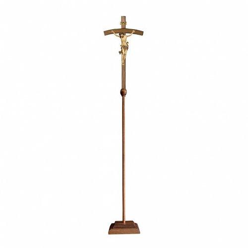 Croce astile con base Leonardo croce curva oro zecchino antico s1