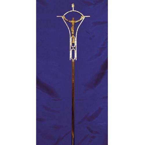 Croce astile ottone fuso bicolore 50x30 cm s2