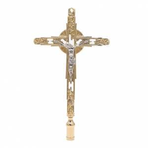 Croce astile processionale da innesto ottone dorato s1