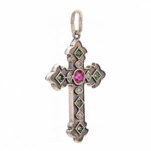 Croce con pietre verdi e rosse argento 925 s2