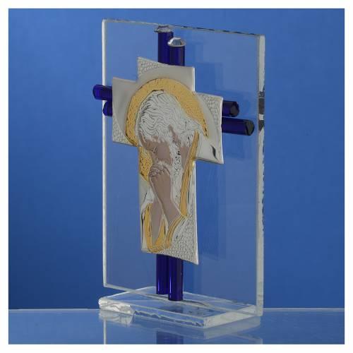 Croce Cristo vetro Murano blu e Arg. h. 10,5 cm s3