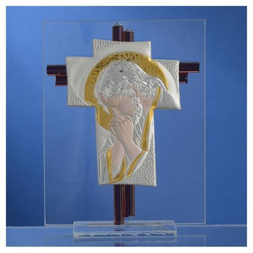 Croce Cristo vetro Murano lilla e Argento h. 14,5 cm s2