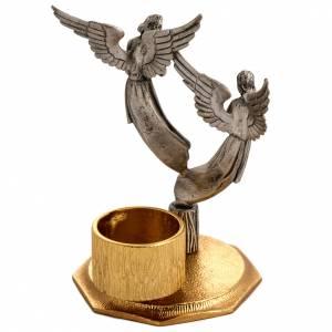 Croce da mensa e candelieri con angeli, in bronzo fuso s3