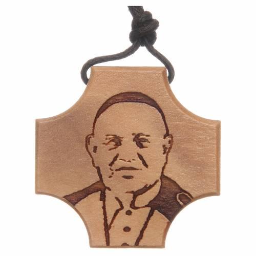 STOCK Croce in ulivo con incisione Papa Giovanni XXIII s1