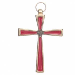 Pendenti croce metallo: Croce metallo dorato smalto rosso cm 7