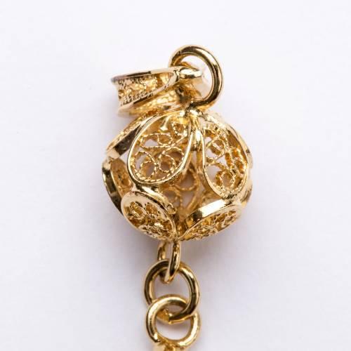 Croce pettorale arg. 800 dorata filigrana con decori s4