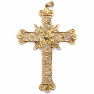 Articoli vescovili: Croce pettorale arg. 800 dorata filigrana con raggi
