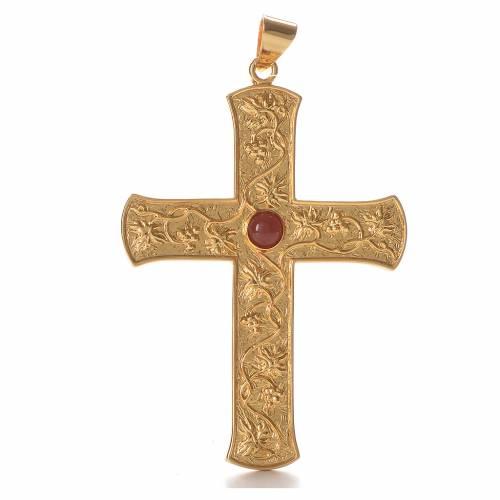 Croce pettorale argento 925 tralci d'uva pietra rossa s1