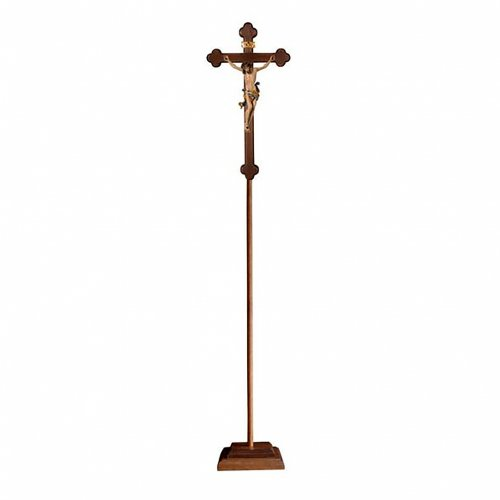 Croce processionale Leonardo colorata croce barocca brunita s1