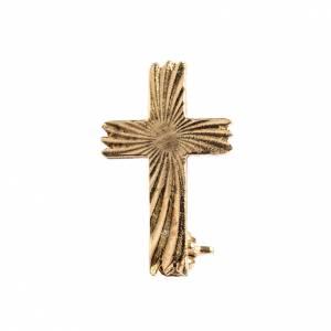 Spille Clergyman: Croce spilla dorata zigrinata arg.800