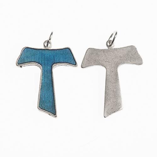 Croce Tau 26 mm galvanica argento antico smalto azzurro s1