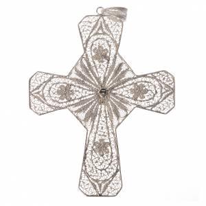 Croce vescovile argento 800 filigrana corniola s2