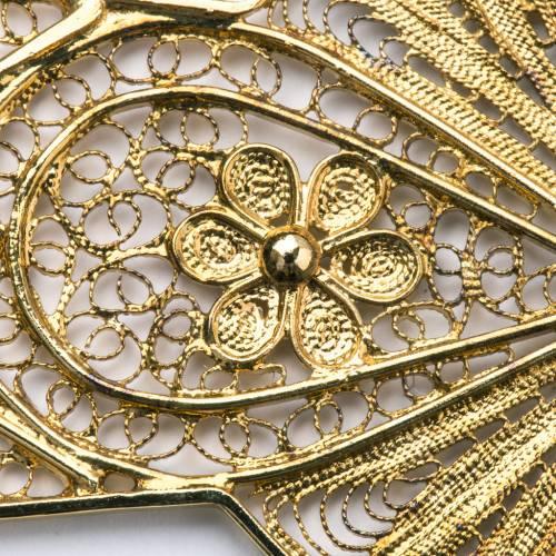 Croce vescovile argento 800 filigrana dorata s4