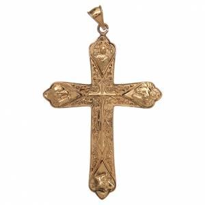 Articoli vescovili: Croce vescovile argento 925 dorato 4 evangelisti