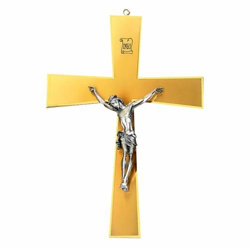 Crocefisso da muro ottone dorato corpo argentato s1
