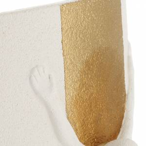 Crocefisso Stele argilla bianca oro con luce 29,5 cm s5