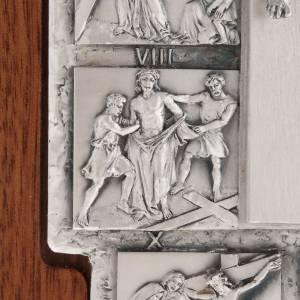 Crocifisso argento Via Crucis 14 stazioni su croce legno s7