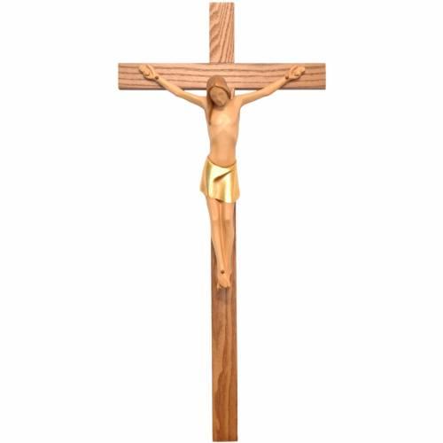 Crocifisso corpo stilizzato legno Valgardena colorato s1