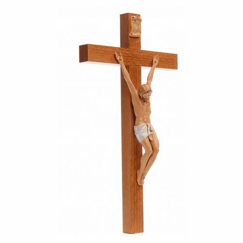 Crocifisso Fontanini 30x17 cm croce legno corpo pvc s2