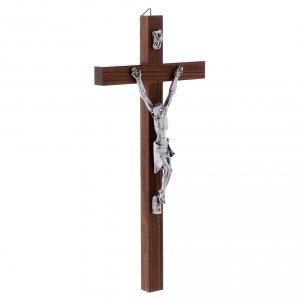 Crocifisso moderno in legno di noce e corpo in argento 25 cm s2