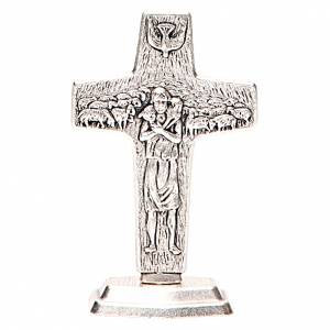 Crucifix à poser: Croix Bon Pasteur de Pape François avec base