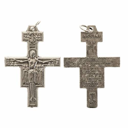Croix chapelet St Damien métal argenté 3.6 cm s1