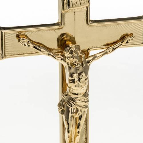 Croix d'autel et chandeliers laiton 3 pcs s4