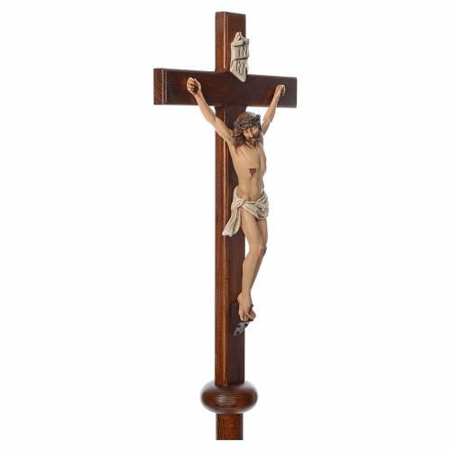 Croix de procession en résine et bois 210cm h Landi s4