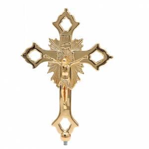 Croix double de procession à monter laiton doré s2