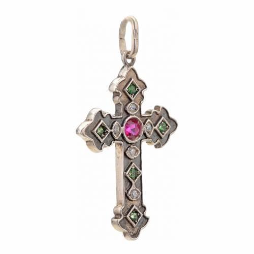 Croix en argent 925 et pierres rouges et vertes s2
