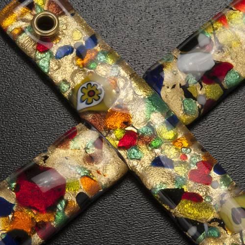 Croix en verre de Murano feuilles d'or s2