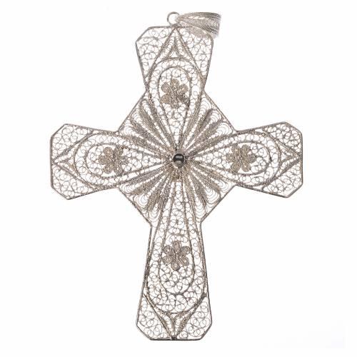 Croix épiscopale filigrane d'argent 800 cornaline s2