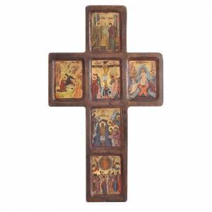 Croix Icône Mystères impression sur bois Grèce 22x36 cm s1