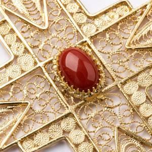 Croix pectorale en filigrane d'argent 800 dorée corail s3