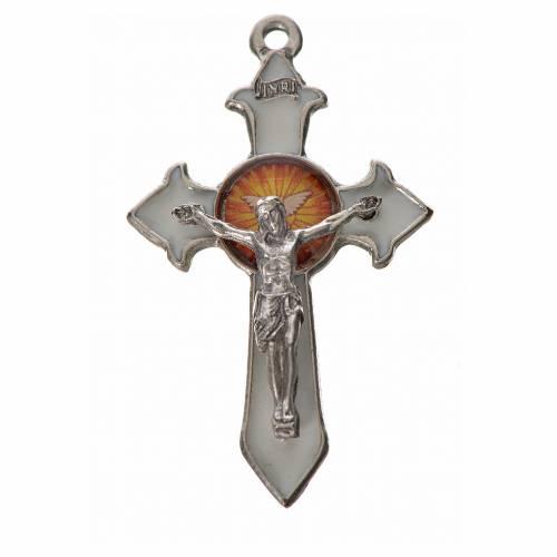 Croix Saint Esprit avec pointes 4,5x2,8 zamac émail blanc s1