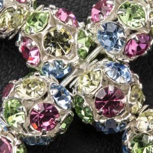 Croix strassball multicolore diam 6 mm s3